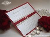 Pozivnica za vjenčanje Red & Silver Lovely