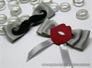 Kitica za rever za vjenčanje - Silver Mustache