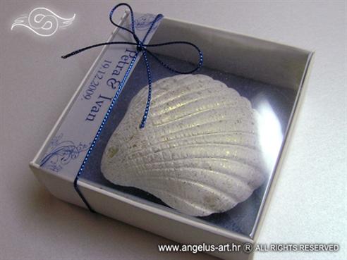 plavi magnet školjka konfet za vjenčanje u kutijici s mašnicom