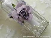 Pozivnica za vjenčanje Poruka u boci - Ljubičasta ruža