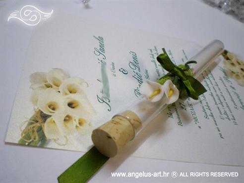 pozivnica za vjenčanje u epruveti s kalom i mašnicom