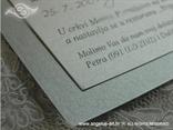 srebrna pozivnica sa srcem detalj