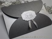 Pozivnica za vjenčanje - Silver Monogram Divas
