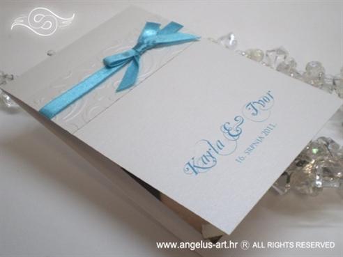 tirkizna zahvalnica za vjenčanje s mašnom i tiskom