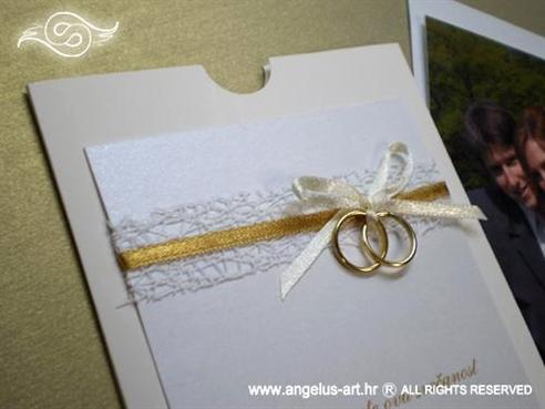 zahvalnica krem zlatna s mašnom i dva prstena