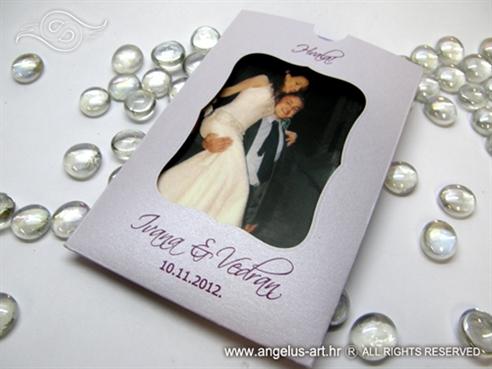 zahvalnica za vjencanje lila sa prorezom
