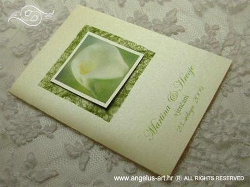 zelena zahvalnica za vjenčanje s mrežom i bijelom kalom
