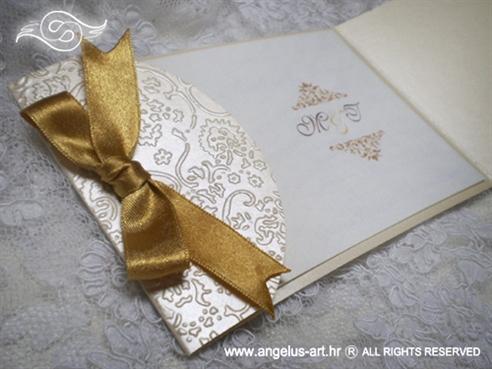 zlatna pozivnica za vjenčanje sa satenskom mašnom